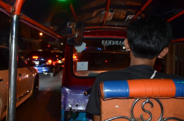 Tuk tuk and traffic jam in Bangkok