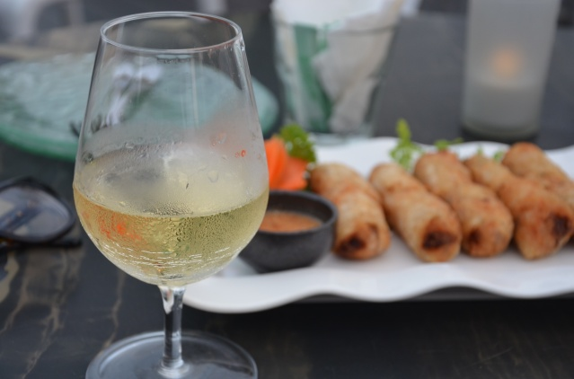 Chin rolls and a glass of wine at the Indochine Restaurant, Supertrees.