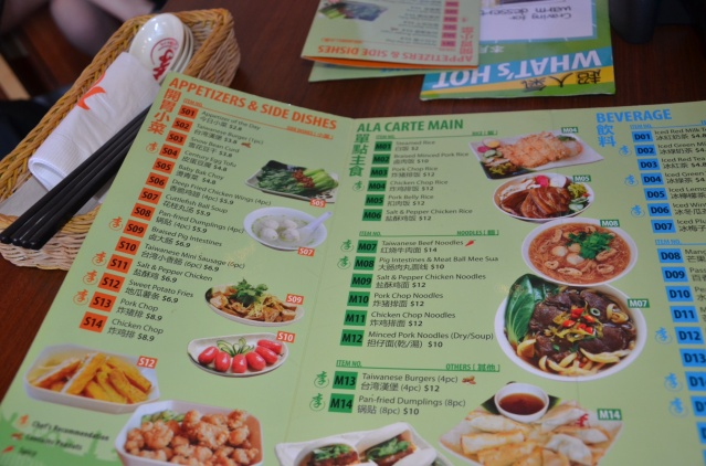 Taiwanese menu, The Rock, Singapore.