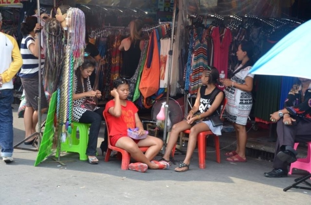 Hair braiding at Khao San Road