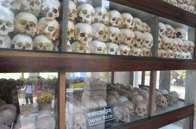 Skulls on display, showing the extent of the brutality the Khmer Rouge regime meted upon it's people