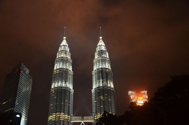 PETRONAS towers by night.