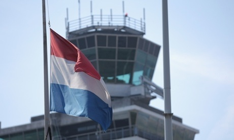 Dutch flag flying at half-mast, Schipol Airport, Amsterdam.