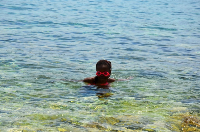 My daughter enjoying a swim