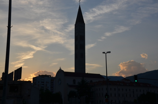 A mosque at dusk