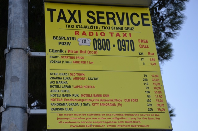 Taxi services at Dubrovnik