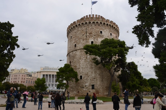 The White Tower at Thessaloniki during the country's National Day 'Ochi' Day.