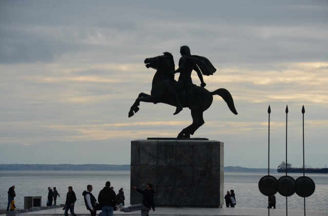 The statue of Alexander tge Great by the sea.