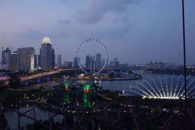 Singapore skyline in the dusk, views from Supertrees, Indochine restaurant