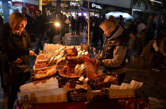 Street snacks at Pandroussou market, Athens.