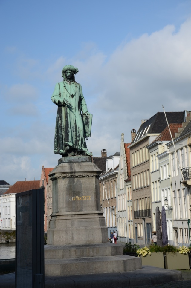 Statue of Jan van Eyck, the famous dutch painter from Brugge