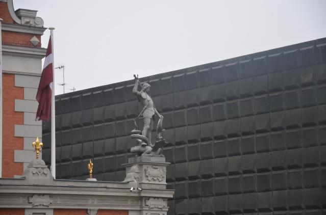 Slaying the dragon statue