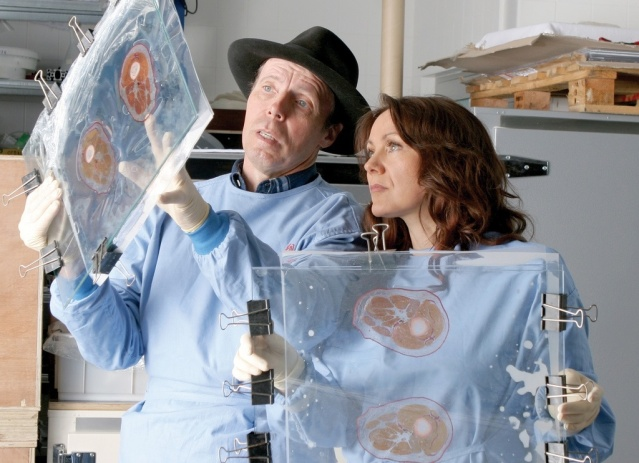 Dr Gunther Von Hagens and Dr Angela Whalley inspecting some slides (images courtesy of Body Worlds, Amsterdam)