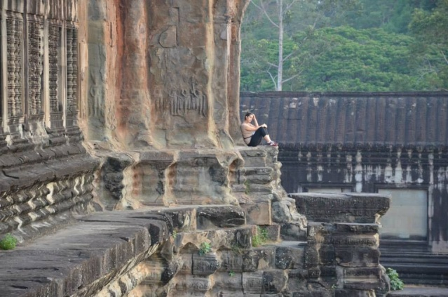 Woman traveler at a Angkor Wat, Cambodia.