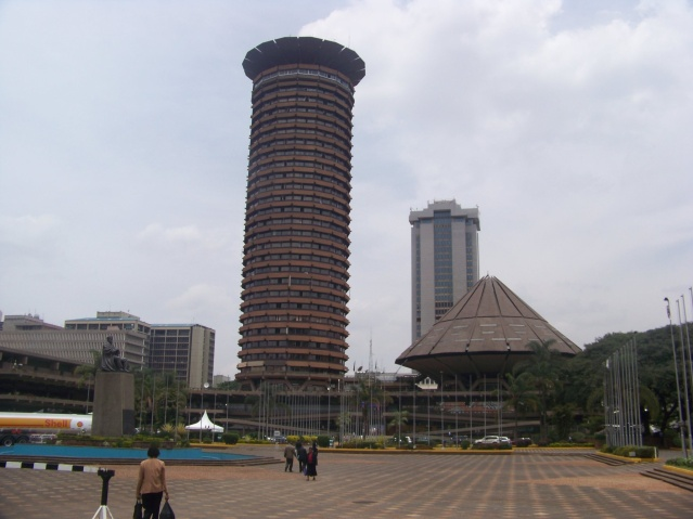 Kenyatta International Conference Centre in Nairobi, to the left is a statue of the late founding father, Jomo Kenyatta.
