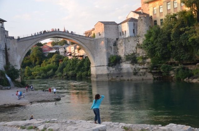 At The bridge in Mostar, Bosnia and Herzegovina.