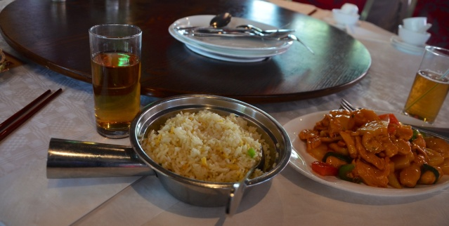Fried rice and sweet and sour pork