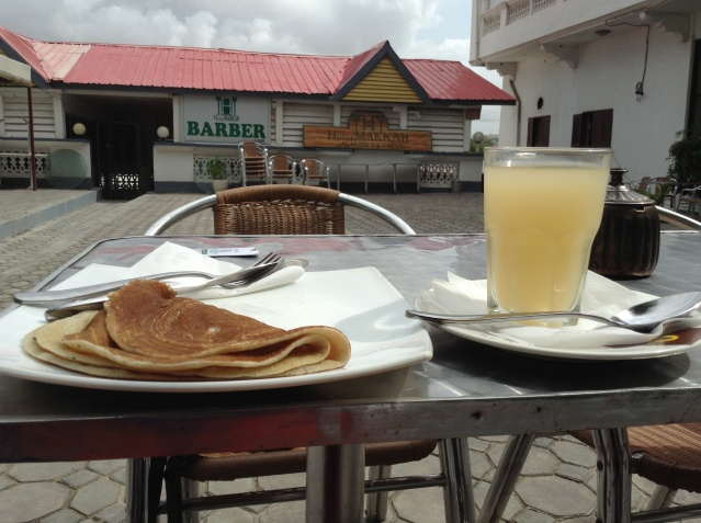 A breakfast of pancake and lemonade at Hotel Makka al-Mukarama