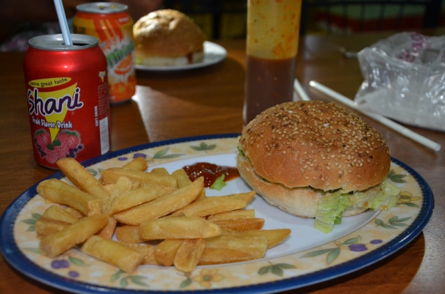 Fries, burgers and shani drink at a fast-food joint in Mogadishu