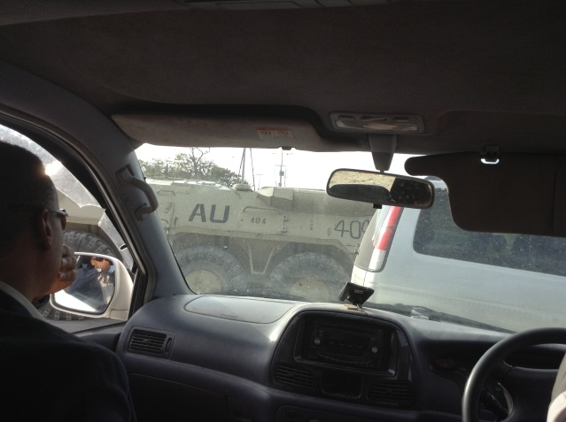 An African Union truck ahead of us