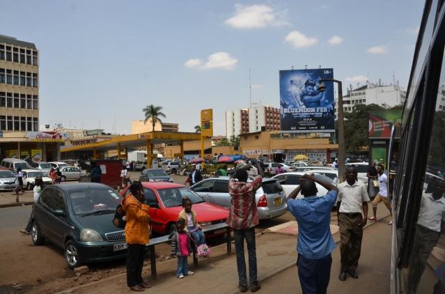 Matatu conductors at Westlands stage beckon passengers.
