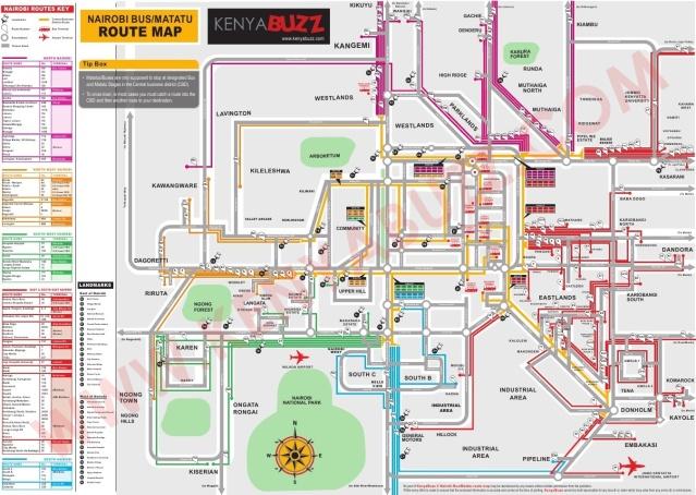 A map displaying matatu routes in Nairobi. @Kenyabuzz.com