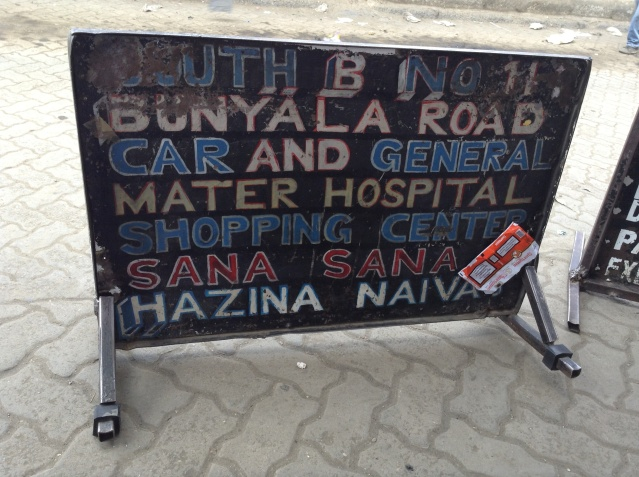 Signboard displaying South B matatu routes.