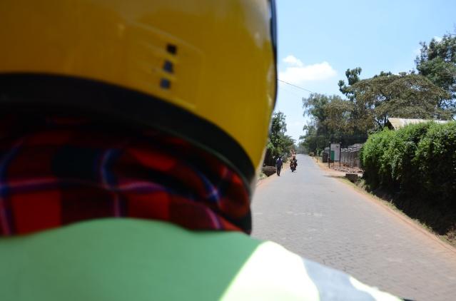 Riding at te back of a motorbike in Karen, Nairobi.