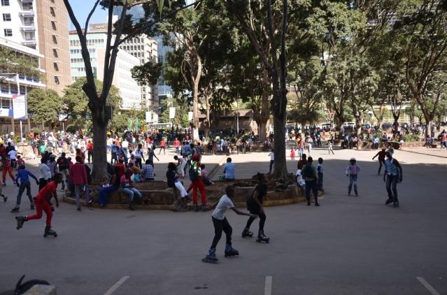 Kids roller-blading in Nairobi, Kenya