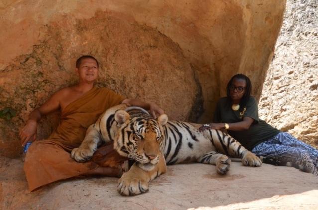 A monk and a tiger, Kanchanaburi, Thailand.