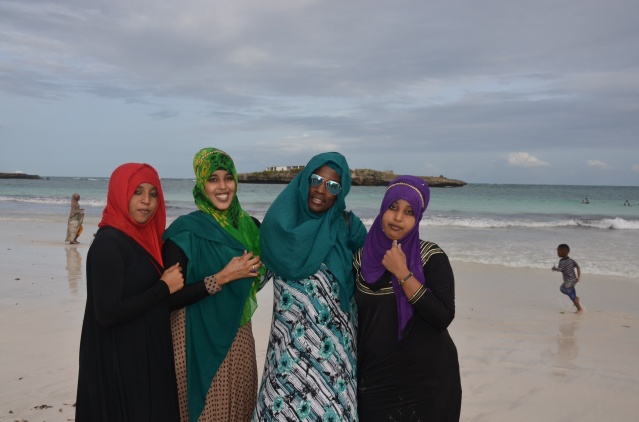 Posing with Somali ladies at Jazeera beach, Somalia.