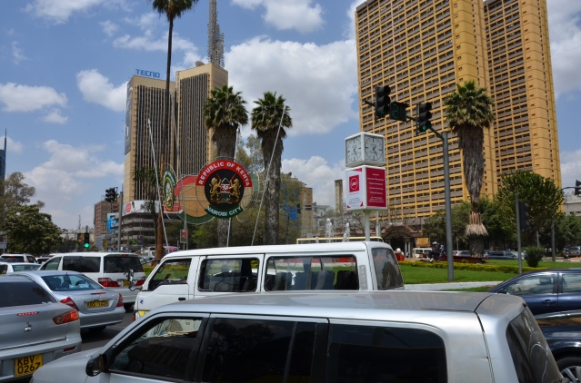 Traffic at the roundabout near Central Park, Nairobi