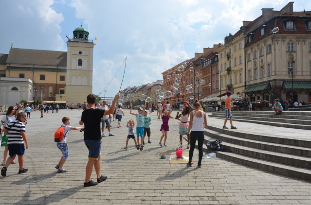 Kids playing in the market square