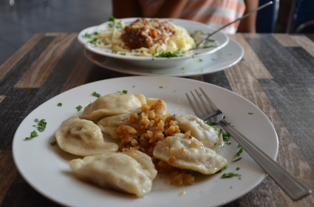 A meal of pierogi; because we are in Poland.