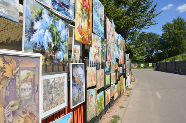 Outdoor art gallery along Andrew's descent