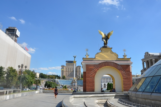The Independence Square (Maidan Nezalezhnostias) viewed from the back of Micheal the archangel's statue, Kiev.
