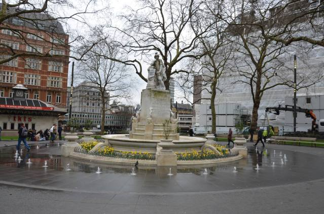 A statue of William Shakespeare at Leicester Square, London.