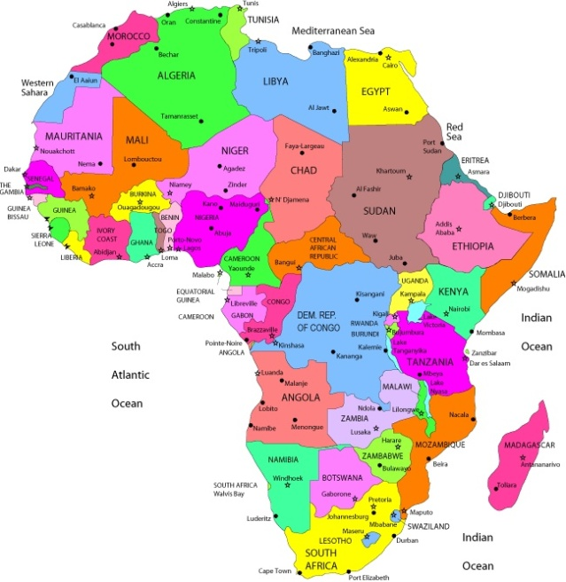 The map of Africa (credit: Google images).